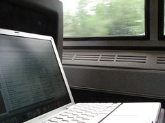 My Laptop on the Train (Penningtron) Tags: travel boston train powerbook mac laptop itunes commute