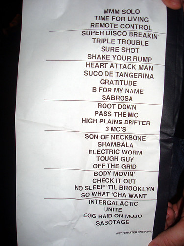 Chicago 9-27-07 Setlist