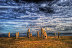 Family of Menhires by the peace (caese) Tags: sky clouds nikon bravo corua galicia soe hdr naturesfinest menhires photomatix supershot magicdonkey artlibre colorphotoaward superbmasterpiece d40x thegoldendreams caese