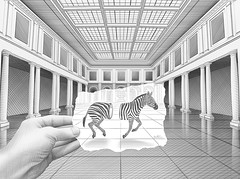 Drawing in A Drawing (Ben Heine) Tags: windows roof light wallpaper france reflection art nature lines animal architecture composition digital paper print lights freedom hall sketch vanishingpoint 3d construction escape hand body cut earth surrealism air main perspective creative surreal engineering run exhibition structure dessin oxygen libert anatomy zebra terre walls conceptual breathe salvadordali escher copyrights connection entre ecosystem plafond croquis correspondance hellenistic tekening greekrevival charlesbaudelaire vrijheid dors zbre metaphore romanstyle palaisdesbeauxartsdelille benheine miseenabime flickrunited infotheartisterycom pencilvscamera drawinginadrawing columelliform pencilvspencil poeticmakingof