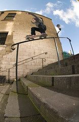 Mike | FS 180 to Switch 5-0 (JC.Photography) Tags: slr mike canon james bath flash skating swindon fisheye melrose skate skateboard skater 8mm strobe peleng skyport elinchrom 430ex strobist 40d clifforde speeldlite skateboardsundays