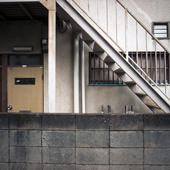 Step Walled Door (jacob schere [in the 03 strategically planning]) Tags: door geometric window japan stairs square concrete vent tokyo support apartment geometry jacob steps salt shapes pole communication chiba column geometrical slot shape lucid cinderblock ichikawa slotted schere grii slatted jacobschere lucidcommunication