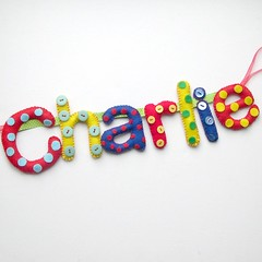 Charlie Dots and Buttons Banner (heartfelthandmade) Tags: blue boy red baby green yellow handmade buttons name letters banner felt garland polka baptism charlie gift christening dots heartfelt personalised