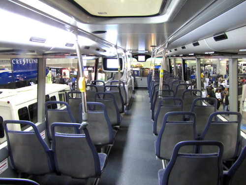 Interior, upper deck of the Alexander Dennis Ltd. double decker on trial in Victoria, BC. Trans-Expo 2010 Shows Hybrid Diesel-Electric, GPS, Wi-Fi, Solar-Power & H.264 Technologies in Public Transit Buses