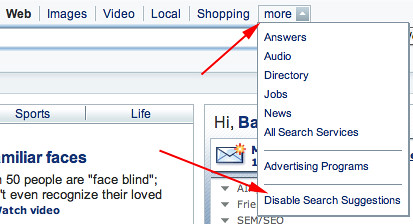 disable yahoo search suggest