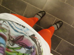 Red trousers (ingridesign) Tags: red standing shoes floor tshirt trousers lookingdown