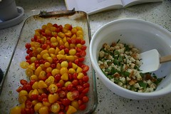 prepping for roasted cherry tomatoes