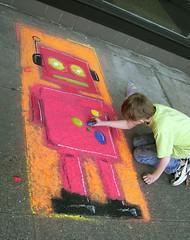 a boy and his robot (Sofia Katariina) Tags: art robot chalk sidewalk