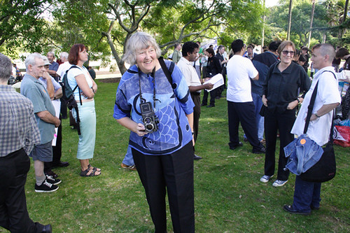 Ans Westra, Auckland University Staff union lunch, Albert Park, 7 April 2005.