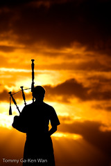 Sunset Piper (TGKW) Tags: sunset portrait people music silhouette scotland piper bagpipes culzean
