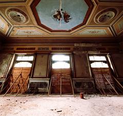 Tea room (Marco Arbani) Tags: pictures old windows abandoned hotel decay room urbanexploration affreschi abandonment decayed albergo urbex finestre frescoes abbandono dipinti d80 marcoarbani arbani