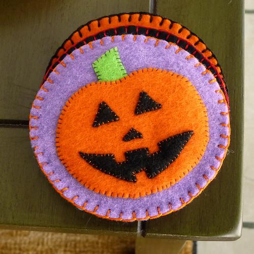 Felt Coasters - Pumpkin