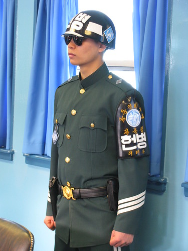 South Korean soldier on guard in the JSA building