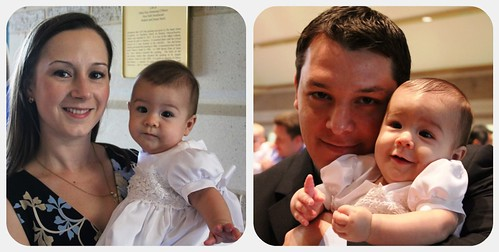 Sophia at baptism with mom then dad