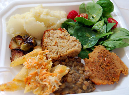 vegan Thanksgiving potluck plate