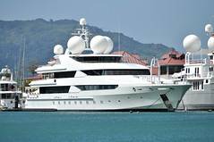 """Billionaire's yacht; Oceanco """"Constellation"""" (PentlandPirate of the North) Tags: blue sea coral marina relax anne islands sand paradise yacht turquoise indianocean palm exotic wharf granite tropical seychelles billionaire ste equator mahe ladigue seychellen seychelle edenisland oceancoconstellation"""