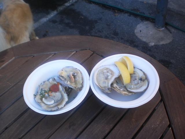 Shucked oysters with hot sauce and lemon