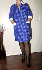 nylon overall (sheerglamour) Tags: leather fetish tv mac dress skirt blouse plastic satin nylon pvc