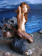 #44 Nereida ~ Mermaid on a rock (Nenfar Blanco) Tags: sculpture art doll handmade oneofakind ooak polymerclay fantasy mermaid siren sirena merfolk nenufarblanco