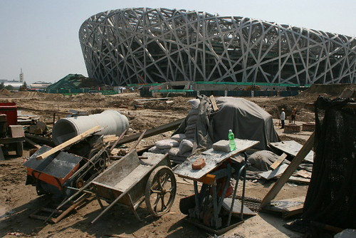 "Beijing's Olympic Stadium - the ""Bird's nest - in July 2007"