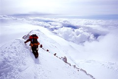 17K Ridge Walk.....Alaska Style (photo61guy) Tags: alaska clouds climbing alpine mountaineering denali nikonn80 mtmckinley steep denalinationalpark fujivelvia100 wonderworld challengeyouwinner worldbest superaplus aplusphoto cherishedmoments wowiekazowie superhearts happinessconservancy jalalspagessportsworld spiritofphotography multimegashot flickraward mountainsociety mygearandmepremium mygearandmebronze