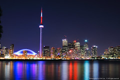 CN Tower, Toronto, Original (Non-HDR) (kirk lau) Tags: toronto canada cn tower cntower harbour front ontario center island night long exposure water skyline lake travel trip family canon holiday vacation friends me rebel xti 28135 is usm ef keepexploring park fall coolestphotographers breathtaking nonhdr original eos 80sec f10 iso100 28mm 0ev hpexif kirk lau kirklau kkl kirk1978 kirk1978atgmaildotcom