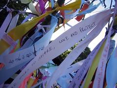 Message ribbons on The Tree Of Hope at Hard Rain - The Exhibition at Edinburgh's Royal Botanic Garden