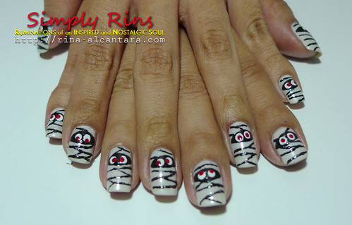Nail Art Halloween Mummies 05
