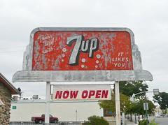 NEON 7UP BILLBOARD SIGN MARTIN LUTHER KING & MAIN ST. MERCED CALIF (ussiwojima) Tags: california sign advertising neon merced billboard soda 7up sevenup