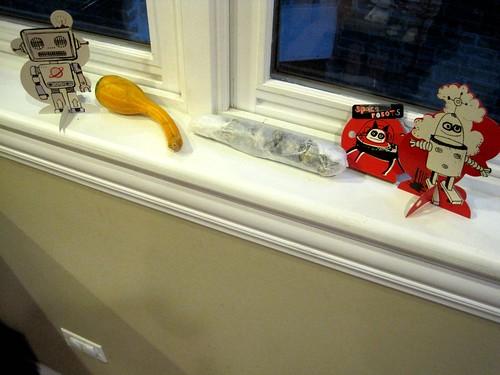 Robots guarding corn