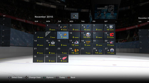 NHL GameCenter PS3 - Calendar with Sharks favorite team