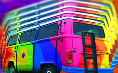 Hippie Bus Flashback (rcvernors) Tags: bus vw photoshop geotagged cool colorful digitalart hippy vivid flashback computerart 70s van psychedelic groovy coolest aw allrightsreserved photoshopart rcvernors altereduniverse colorphotoaward fiveflickrfavs copyrightrickchildersdigitalmedia2007allrightsreserved