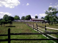 View of barns and pens, Upper Schuylkill Valley Park