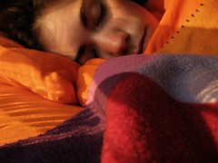 (kathleen.bradley) Tags: pink red portrait orange selfportrait self warm purple sleepy tired bedhead magichour cwd cwd242 cwdweek24