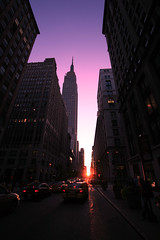 manhattanhenge (ciopy) Tags: new york city sunset sun newyork color downtown tramonto colore perspective sole citt manhattanhenge henge prospettiva