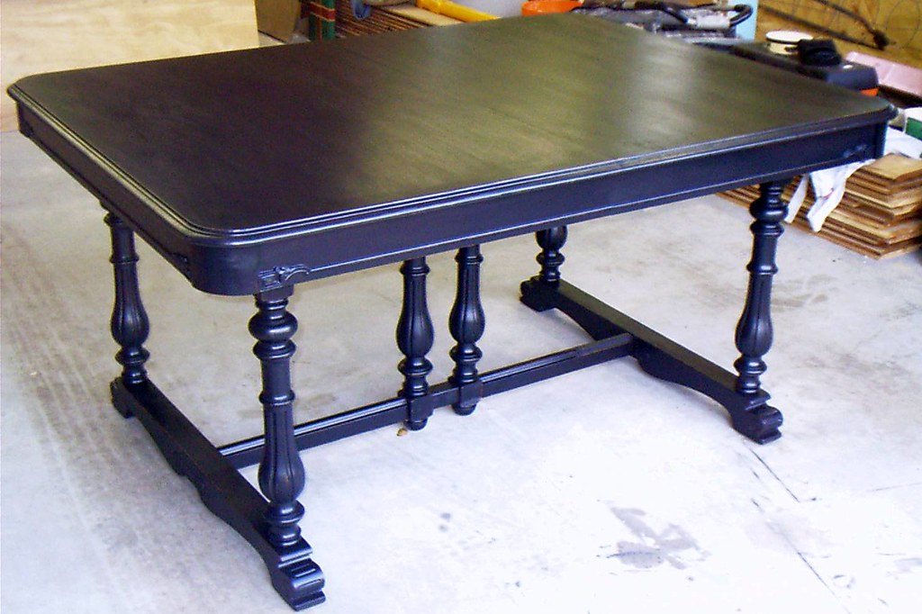 Antique table painted black, hand distressed, then varnished