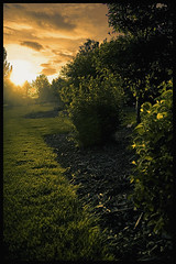 Midnight in the garden of good and evil (Villi.Ingi) Tags: sunset sky sun backlight clouds garden iceland reykjavk sland lowlit