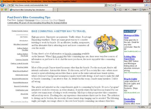 Paul Dorn's Bike Commute Tips website