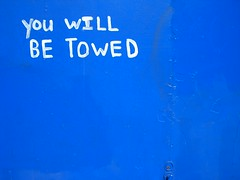 You will be towed. (A National Acrobat) Tags: blue white garage garagedoor youwillbetowed
