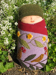 one more baby (Mimi K) Tags: baby bird fall wool doll embroidery vine etsy recycle applique swaddle sa2embroidered