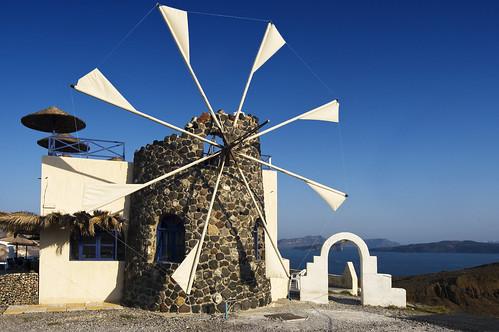 フリー画像| 人工風景| 建造物/建築物| 風車| ギリシア風景| サントリーニ島|      フリー素材|