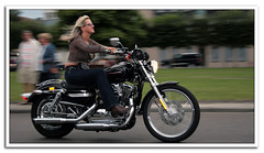 Woman riding a Harley ...... (fatboyke (Luc)) Tags: motion speed canon fun liberty chica ride belgium rally blond harleydavidson breathtaking treffen limburg 2007 dyna showandshine leopoldsburg sexybabe niceboobs eos400d ladiesofharley hdrally ridingaharley withabigsmile airisanairfreshener