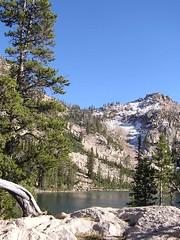 Baron Divide and scramble peak looking across Baron Lake