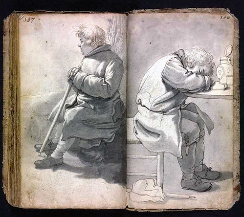 2 views of seated man