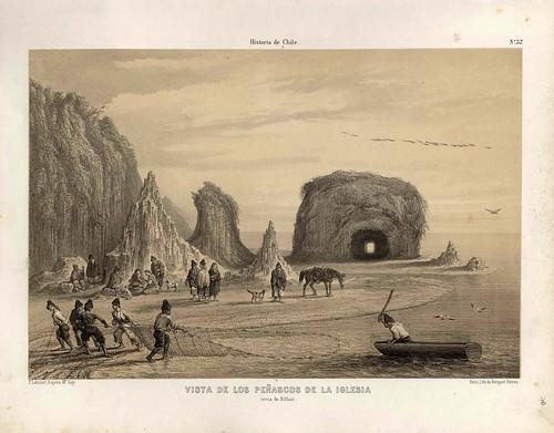 018-Vista de los peñascos de la iglesia cerca de Bilbao-Atlas de la historia física y política de Chile-1854-Claudio Gay
