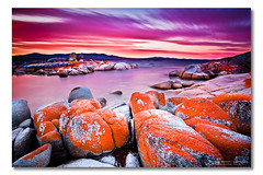 Binalong Bay, Bay of Fires, Tasmania (Matthew Stewart | Photographer) Tags: red sea sky orange water bay rocks long exposure australia tasmania fires 2010 binalong photos1