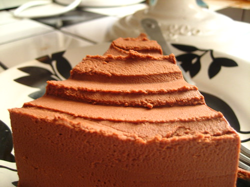 Chocolate Genoise with Peanut Butter Whipped Ganache