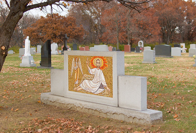 Resurrection Cemetery, in Affton, Missouri, USA - monument with a mosaic of Christ