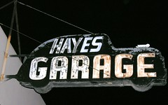 the late hayes garage sign w/ flash - stockton ca (Dave van Hulsteyn) Tags: california sign vintage neon ellis garage hayes stockton centralvalley hayesgarage us99 ellisgarage