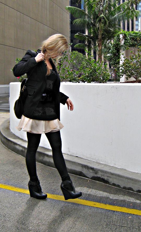 side braid+velvet angels wedges+leggings and a blazer